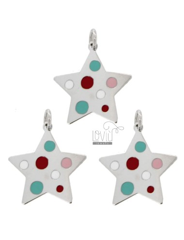 PENDANT STAR PZ 3 MM 22X21 SILVER RHODIUM TIT 925 AND ENAMEL