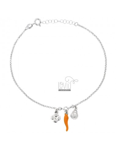 ROLO 'CAVIGLIERA' WITH QUADRIFOFLIO COCCINELLA AND HORN ENAMELED IN SILVER RHODIUM TIT 925 ‰ CM 23 EXTENSIBLE TO 26