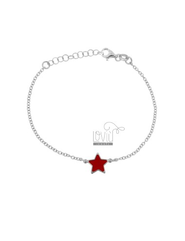 BRACELET CABLE WITH CENTRAL STAR GLASS RED SILVER RHODIUM TIT 925 CM 17-20