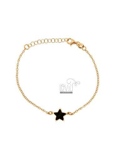 BRACELET CABLE WITH CENTRAL STAR GLOVES BLACK SILVER ROSE TIT 925 CM 17-20