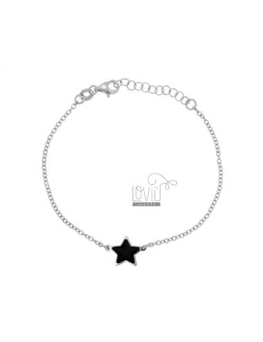 BRACELET CABLE WITH CENTRAL STAR GLASS BLACK BLACK SILVER RHODIUM TIT 925 CM 17-20