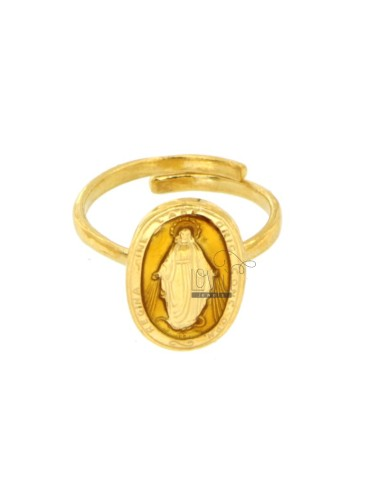 RING MADACOLOSA OVAL 19X11 MM GOLD SILVER TIT 925 ‰ AND ENAMEL YELLOW ADJUSTABLE SIZE