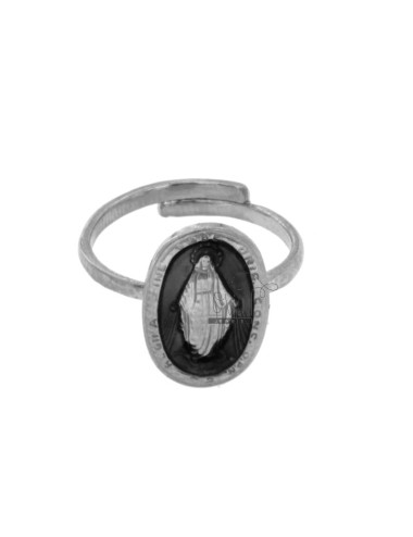 RING MADACNOSE MIRACULOUS OVAL 19X11 MM SILVER RHODIUM TIT 925 ‰ AND BLACK ENAMEL ADJUSTABLE SIZE