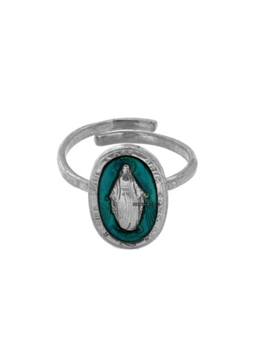 MIRACULOUS RING OVAL MADONNINA 19X11 MM SILVER RHODIUM TIT 925 ‰ AND TURQUOISE ENAMEL ADJUSTABLE SIZE