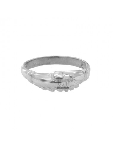 RING OF THE HOLY RITA WITH HANDS THAT YOU STRING IN SILVER RHODIUM TIT 925 ‰ MEASURE 18