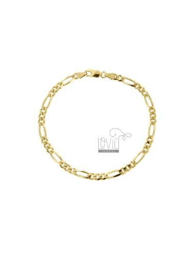 BRACELET 3 MM 3 MM 3.7X1.2 IN SILVER GOLD 925 ‰ CM 20