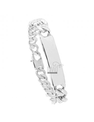 BRACCIALE GRUMETTA 4 SATI WITH PLATE 12x3 MM SILVER TIT 925 ‰ WITH CLOSING TO FRENCH CM 23