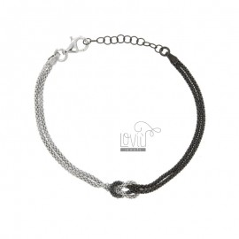 BRACELET POP CORN WITH CENTRAL KNOT IN SILVER PLATED RHODIUM AND RUTHENIUM TIT 925 ‰ CM FROM 18 EXTENSIBLE TO 20