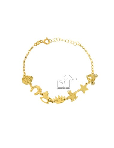 BRACELET IN LINE WITH COCCINELLA, CARRIAGE AND SCARAMANTIC IN SILVER GOLD TIT 925 ‰ CM 17-20