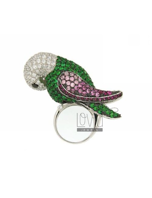 PARROT IN RING RHODIUM AG TIT 925 ‰ VARIOUS COLORS AND ZIRCONIA SIZE 13