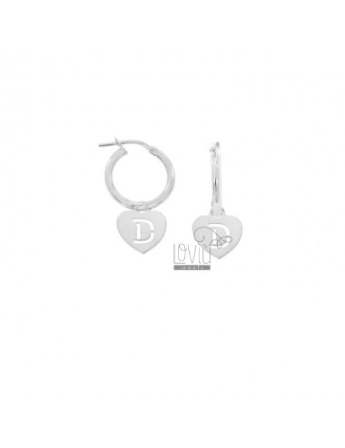 EARRINGS A CIRCLE DIAMETER 12 MM WITH HEART PENDANT 13X11 MM AND LETTER D DRAFTED IN SILVER RHODIUM TIT 925