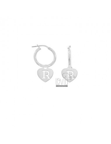 EARRINGS A CIRCLE DIAMETER 12 MM WITH HEART PENDANT 13X11 MM AND LETTER R TRAFORATA IN SILVER RHODIUM TIT 925