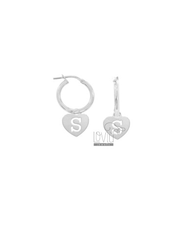 EARRINGS A CIRCLE DIAMETER 12 MM WITH HEART PENDANT 13X11 MM AND LETTER S SIGNED IN SILVER RHODIUM TIT 925