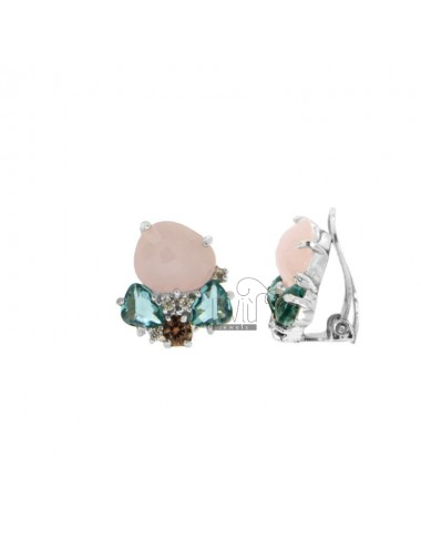 EARRINGS WITH STONES HYDROTHERMAL 16x15 MM COLOR ROSE 11 GREEN PETROLEUM 63 AND ZIRCONIA WITH CLIPS IN SILVER RHODIUM TIT 925 ‰