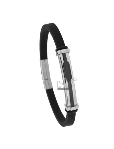 RUBBER BRACELET WITH TWO-TONE STEEL PLATE