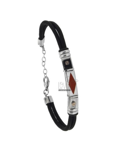 ROPE BRACELET WITH STEEL PLATE AND ENAMEL