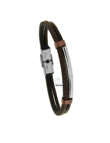 LEATHER BRACELET WITH TWO-TONE STEEL PLATE