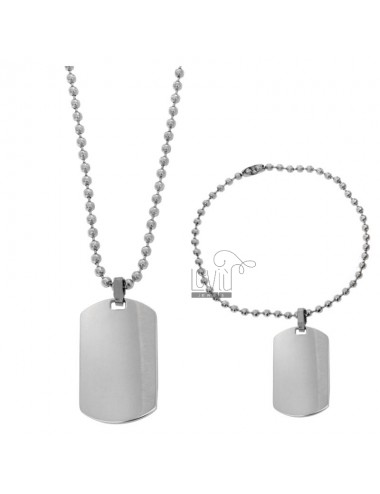 DOUBLE MILITARY MEDAL IN STEEL 40X23 MM WITH BALL CHAIN \u200b\u200bMM 2.5 CM 60