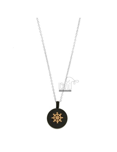 CHAIN \u200b\u200bCABLE 50 CM WITH RUDDER PENDANT 16 MM IN TRICOLOR STEEL