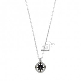CHAIN \u200b\u200bCABLE 50 CM WITH RUDDER PENDANT 12 MM IN STEEL TWO-TONE