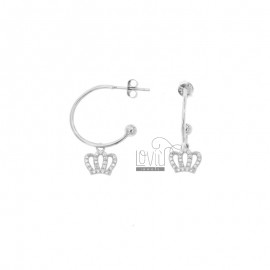 EARRINGS A CIRCLE MM 18 WITH CROWN PENDANT SILVER RHODIUM TIT 925 ‰ AND ZIRCONIA