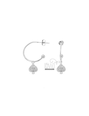 EARRINGS A CIRCLE MM 18 WITH PENDANTS IN SILVER RHODIUM TIT 925 ‰ AND ZIRCONIA