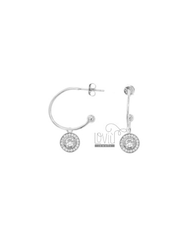 EARRINGS A CIRCLE MM 18 WITH SOLITARY PENDING IN SILVER RHODIUM TIT 925 ‰ AND ZIRCONIA