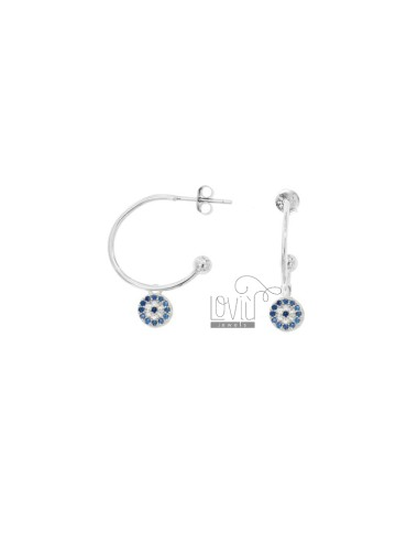 EARRINGS A CIRCLE MM 18 WITH ROUND PENDANT IN SILVER RHODIUM TIT 925 ‰ AND WHITE AND BLUE ZIRCONIA
