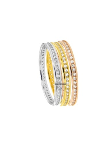 TRIM RING TRIPLE 3 PCS IN SILVER TRICOLOR TIT 925 ‰ AND ZIRCONI SIZE 12