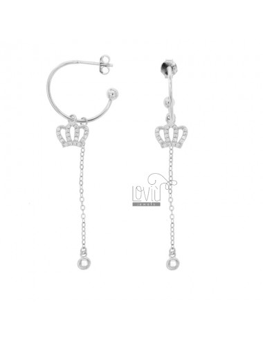 EARRINGS A CIRCLE MM 18 WITH CHAIN \u200b\u200bCABLE AND CROWN PENDANT SILVER RHODIUM TIT 925 ‰ AND ZIRCONIA