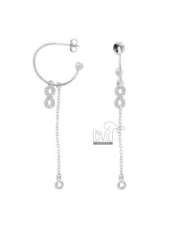 EARRINGS A CIRCLE MM 18 WITH CHAIN \u200b\u200bFORCE AND INFINITE PENDANT SILVER RHODIUM TIT 925 ‰ AND ZIRCONIA