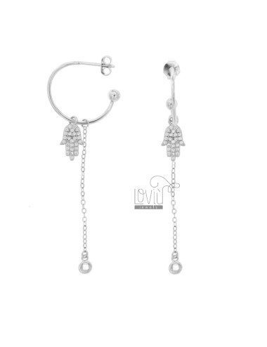 EARRINGS A CIRCLE MM 18 WITH CHAIN \u200b\u200bCABLE AND HAND OF FATIMA PENDANT SILVER RHODIUM TIT 925 ‰ AND ZIRCONIA