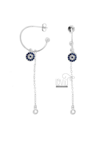 EARRINGS A CIRCLE MM 18 WITH CHAIN \u200b\u200bCABLE AND ROUND PENDANT SILVER RHODIUM TIT 925 ‰ AND ZIRCONIA WHITE AND BLUE