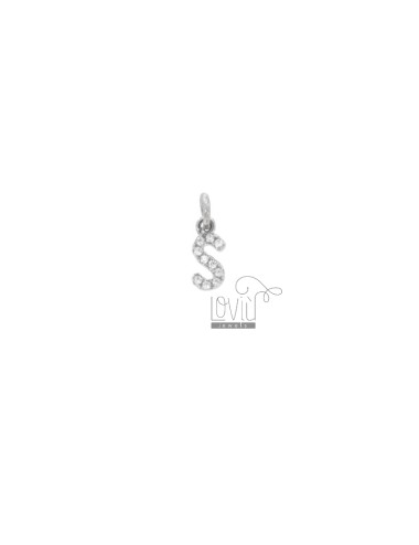 PENDANT LETTER S 8X5 MM WITH ZIRCONIA IN SILVER RHODIUM TIT 925 ‰