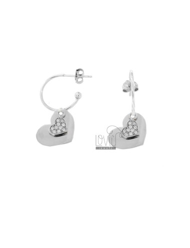 EARRINGS IN CIRCLE 15 DIAMETER WITH DOUBLE HEART PENDANT IN SILVER RHODIUM TIT 925 AND WHITE ZIRCONIA