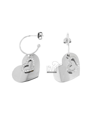EARRINGS IN CIRCLE 15 DIAMETER WITH HEART AND HEART NECKLACE PENDANT IN SILVER RHODIUM TIT 925 AND WHITE ZIRCONIA