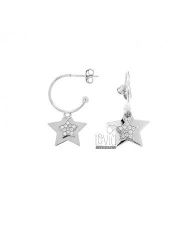 EARRINGS IN CIRCLE 15 DIAMETER WITH DOUBLE STAR PENDANT IN SILVER RHODIUM TIT 925 AND WHITE ZIRCONIA
