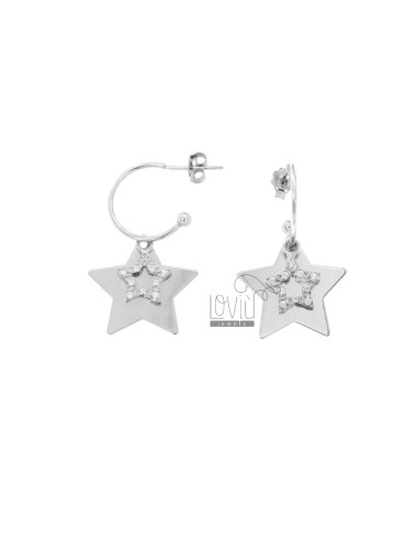EARRINGS IN CIRCLE 15 DIAMETER WITH STAR AND STAR CONTAINER PENDANT IN SILVER RHODIUM TIT 925 AND WHITE ZIRCONIA