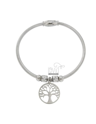 BRACELET MOUNTED STEEL BRACELET WITH TREE OF LIFE AND RHINESTONES