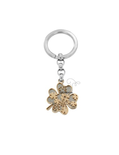 KEYRING WITH QUADRIFOGLIO IN STEEL TWO-TONE