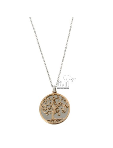 NECKLACE CABLE AND LIFE TREE PENDANT IN RHODIUM STEEL AND COPPER CM 50