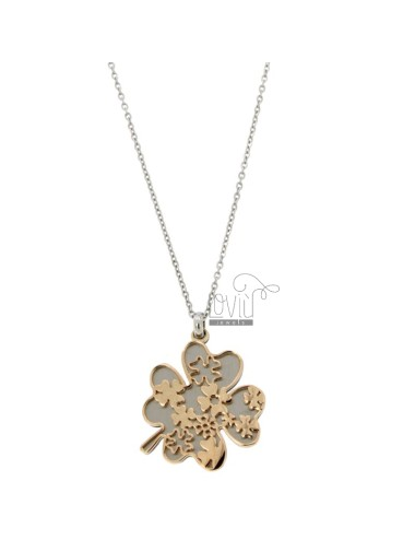 NECKLACE FORZATINA AND QUADRIFOGLIO PENDANT IN RHODIUM STEEL AND COPPER CM 50
