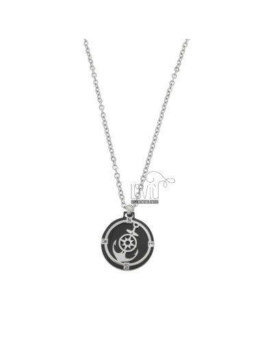 CHAIN \u200b\u200bCABLE 50 CM WITH STILL AND WIND ROSE PENDANT IN STEEL TWO-TONE