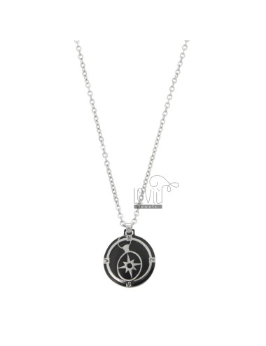CHAIN \u200b\u200bCABLE 50 CM WITH WIND ROSE PENDANT IN STEEL TWO-TONE