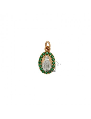 PENDANT MIRACULOUS MADONNA IN SILVER ROSE AND RHODIUM TIT 925 ‰ AND GREEN ZIRCONS