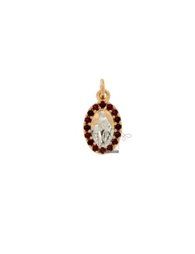 PENDANT MIRACULOUS MADONNA IN SILVER ROSE AND RHODIUM TIT 925 ‰ AND RED ZIRCONIA