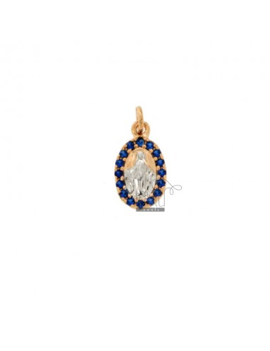 PENDANT MIRACULOUS MADONNA IN SILVER ROSE AND RHODIUM TIT 925 ‰ AND ZIRCONIA BLUE
