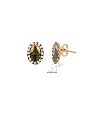 EARRINGS LOBO MIRACULOUS IN SILVER PLATED RUTENIO AND ROSE GOLD TIT 925 ‰ AND ZIRCONIA