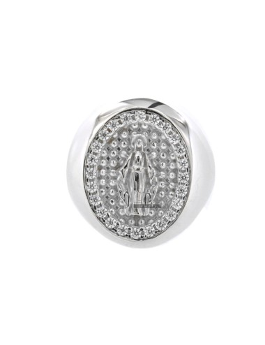 BAND RING WITH MIRACULOUS MEDAL WITH ZIRCONATE BORDER IN SILVER RHODIUM TIT 925 ‰ ADJUSTABLE MEASURE
