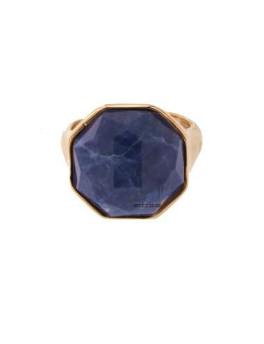 Octagonal ring with natural...
